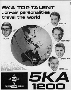 The line-up of on air personalities at 5KA in the mid-60s