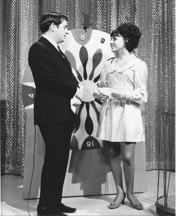 Photo from Channel 9. 'Willsy' with Ernie Sigley on the Wheel of Fortune from the early days of 'live' TV shows in Adelaide