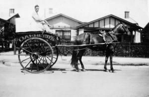 Source ARW.  Bread delivery by horse and cart in the late 1940s
