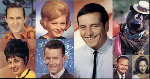 Channel 9 personalities including; Top row (l to r) Reg Lindsay, Pam Weston, Ernie Sigley, Humphrey Bear. Bottom row; Anne Wills, Ian Fairweather, Lionel Williams and Ann North. Source: Miracle on Tynte Street; The Channel 9 Story by Rex Heading and Trevor Jones.