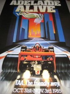 Photo from State Library SA. The poster that promoted the first Adelaide Grand Prix in 1985
