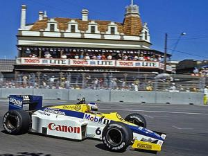 Keke Rosberg takes the Williams FW10-Honda around the Adelaide circuit. Photo: LAT Photographic/Williams