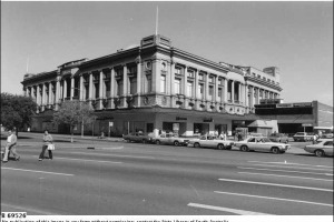 Photo from the State Library of SA. Moore's Department Store on the corner of Gouger Street and Victoria Square in the 1970s. The building is now used by the Law Courts.
