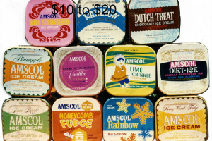 Photo from a recent eBay advertisement. After the brick came the tins and then the plastic containers of our favourite ice cream Amscol