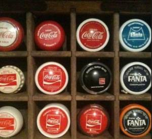 "Grant Murrell's photo; ""Here is some of my Coke yo-yo collection, dating from the 50's through to the late 70's"""