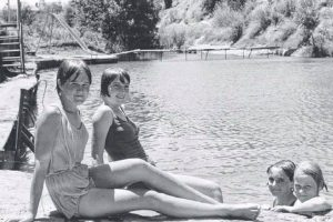 Girls cooling off with a swim at the Gilberton Brigde in 1967