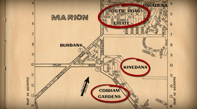 An Early Gregory's Road Map of Adelaide Suburbs including Kinedana and Coham Gardens
