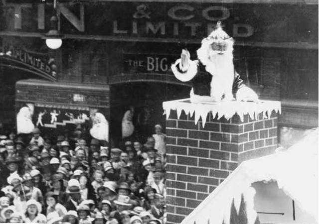 Photo from the Sate Library. The first Father Christmas in 1933