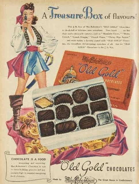 Photo from Pinterest. The Old Gold box of chocolates had soft and hard centres.
