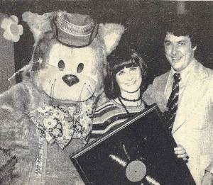 "Photo from Patsy Biscoe's Flickr Photostream. Fat Cat, Patsy and Noel O'Connor, fellow presenter on Channel 10, just after Patsy had been presented with a gold album award for her LP ""Fifty Favourite Nursery Rhymes""."