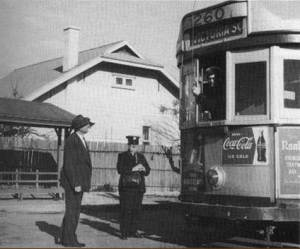 "Photo from ""Johnny's Pages"" is of Operations MTT Superintendent Ed Hall with Conductor Larry Brennan from the St Peter's tram, taken late 1950s."