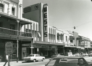 Photo from the State Library of SA. Wests Picture Theatre on the south side of Hindley St in 1975, just two years before its closure.