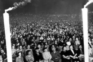 Photo from Carols by Candlelight.  The first Carols was held in Elder Park in 1944. 50,000 people turned up for that first event, one person in ten in SA at that time