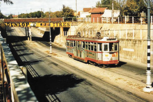 Photo from The Tram Museum Adelaide. A tram coming through the underpass on Goodwood Road at Millswood in 1956. Trams were Adelaide's main form of public transport for some 30 years from 1925 until 1958 when on the 22nd of November that year the last tram left Victoria Square bound for Cheltenham.