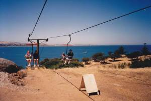 The Granite Island Chairlift, installed in 1964 and removed in 1996. Photo courtesy of Alex Prichard on Flickr