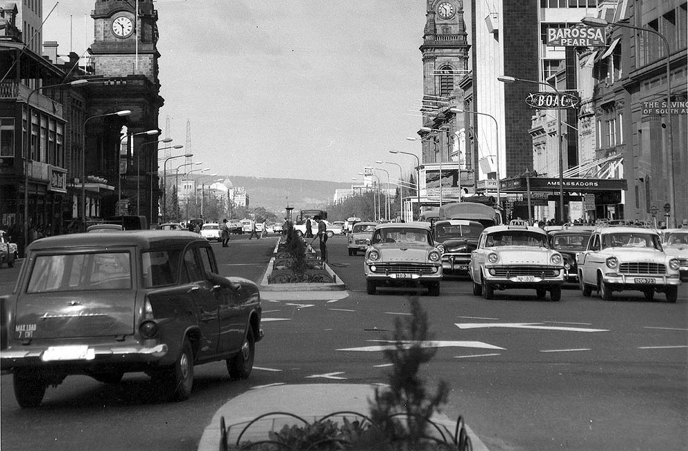 King William Street in the early 1960s. Posters loved the cars and buildings and the lone council worker.