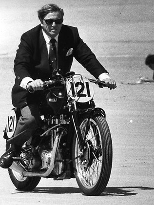 Kym Bonython cuts a dashing figure on two wheels