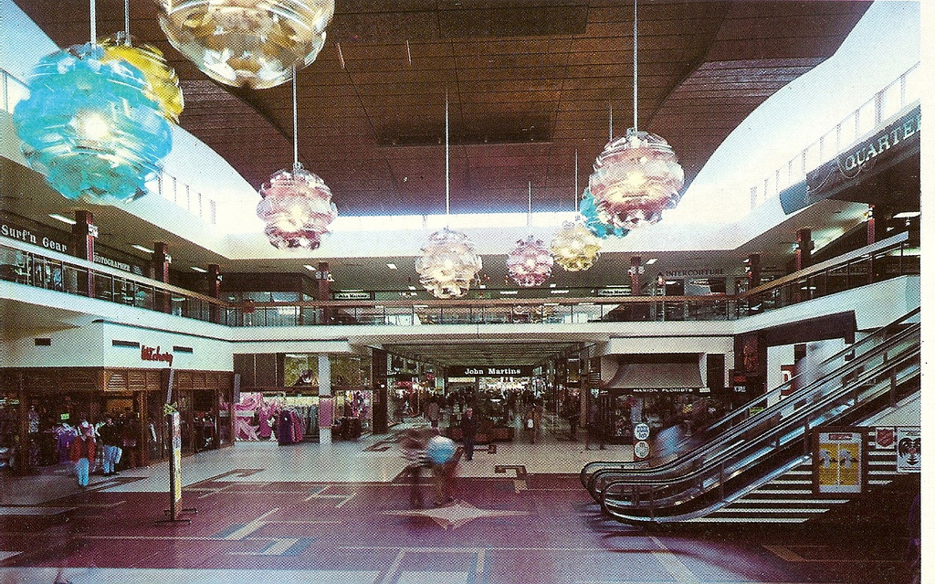 Photo from Glen H  Flickr Photostream. Marion Shopping Centre in 1974 with the escalators to the Quaterdeck and John Martin's Department Store