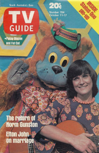 "Photo from TV Guide.Patsy Biscoe with Fat Cat from the afternoon's children's programme ""Fat Cat and Friends"""
