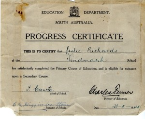 we used to get a 'Progress Certificate' at the end of primary school, which then allowed us to 'progress' to secondary school