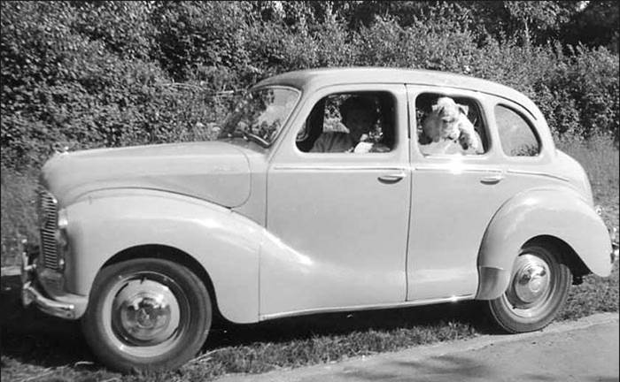 Photo from Google Images. I paid £150 for my first car, a 1949 Austin A40, 60 mph flat as a tack, with the big ends knocking