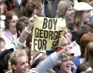 Image from You Tube video. 25,000 fans turned out to welcome British pop star sensation Boy George. Were you there?