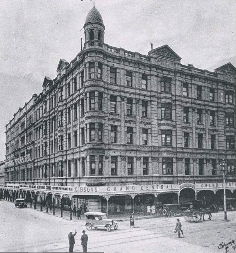 "Photo from the State Library of SA. the Grand Central Hotel on the corner of Rundle and Pulteney Streets in the city, described as ""Adelaide's Dorchester ""."