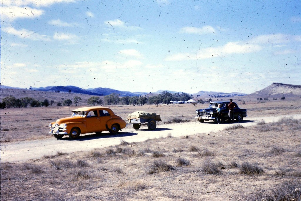 "Another photo from Kenny's album; ""Dad's FJ taxi (with water bag on the front) returns from a trip in the Flinders Ranges. As a kid where did your family take it's holidays?"""