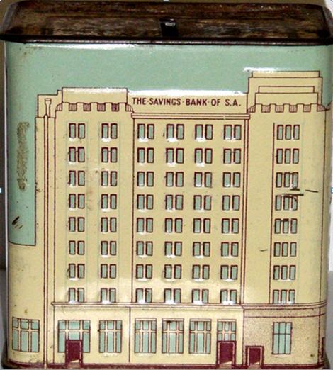 Savings Bank of South Australia money box. The original tin boxes had a key hole at the bottom but once you put a coin in you could never get it out