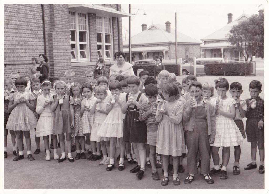 From the cover of the book Adelaide Remember When, school children from Ethelton Primary drinking their school milk
