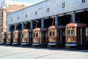 Photo from. Trams line d up at the old Tram Barn in Angas Street