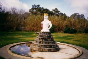 Photo of King Neptune in his original pond, comes from the personal collection of Suzanne Comelli, the daughter of Arturo who was the artisan who crafted Neptune from concrete, and 891 ABC Adelaide.