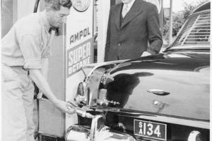 Photo from National Library of Australia; nla.pic-an 24679811-v.•The Lord Mayor of Adelaide, Mr. J.S. Philp, watches Frank Patten of the Beulah Park Ampol service station refuel his car during the Handicapped Children's Week Appeal, South Australia, December, 1955 [picture]