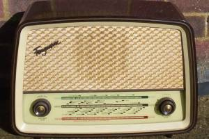 An old fashioned valve mantel radio similar to the one we had at home in the 50s