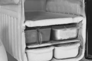 Photo from Google Images. Early fridges had a small freezer compartment big enough for an Amscol brick of ice cream and needed defrosting regularly.