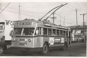 Photo by Doug Colquhoun from Wikimedia Commons. The trolleybus system was part of public transport around Adelaide for roughly 30 years