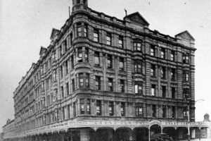 The Grand Central Hotel, on the southeast corner of Rundle and Pulteney streets, was built in 1910 and was the only kind of high Victorian building in Adelaide.